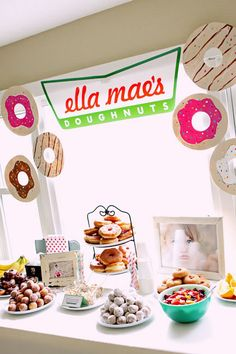 donut party this would be so fun!!! Maybe for a half Birthday get together!!