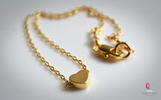 Tiny gold heart anklet
