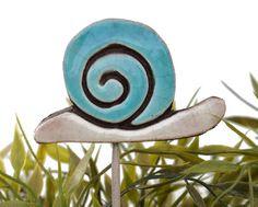 snail garden art - plant stake - garden decor - lawn ornament - large turquoise ceramic snail on Etsy, $10.85