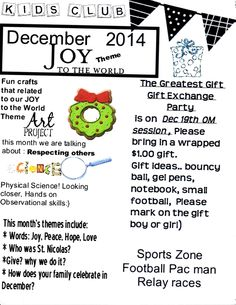 Sample of my newsletter for the KIDS CLUB the YMCA school