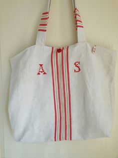 Natural linen tote made of antique grain sack by Cornsant