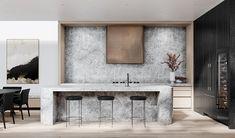 Modern Kitchen Interiors, Modern Kitchen Design, Kitchen Designs, Beautiful Kitchens, Dream Kitchens, Apartment Design, The Hamptons, Natural Stones, House Design