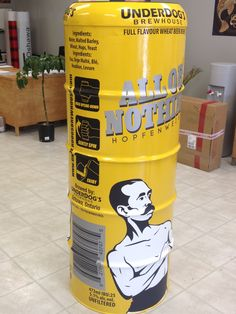 Underdog's Brewhouse came to Speedpro Imaging Oshawa with this great project…. a life-sized tallboy can for their events. The 'can' was painted bright yellow and they wanted Speedpro to create and apply the graphics…not an easy task! They used digital prints on 3M IJ180 with matte lamination, digital prints on Avery 900 series matte silver with matte lamination, and cut graphics 3M 1080 series black vinyl.   Now they are just wondering what they are going to come up with next!