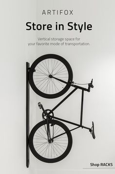 LIMITED RUN Order While Supplies Last. This vertical bike RACK brings your ride out from the garage and into your living space. Its unique mounting system self-levels along any surface and stays hidden with a cleverly placed magnet. Made from solid white Garage Organization, Garage Storage, Storage Spaces, Vertical Bike Rack, Vertical Storage, Furniture Sale, Furniture Plans, Urban Furniture, Cheap Furniture