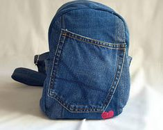 Mini Denim Backpack from Upcycled Jeans
