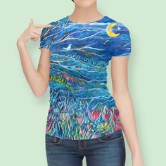 Discover «Mountain Valley Flowers in Moonlight», Limited Edition Women's All Over T-Shirt by Jean Batzell Fitzgerald - From $49 - Curioos
