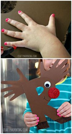 R is for Reindeer/Rudolph Craft #Alphabet #Christmas craft for kids | CraftyMorning.com