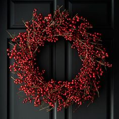 Twigs of faux berries wind a large wreath adding festive color above a fireplace or as a welcoming wall decoration in the foyer. Old Fashioned Christmas Decorations, Silver Christmas Decorations, Christmas Wood, Etsy Christmas, Winter Christmas, Red Berry Wreath, Foyer Decorating, Decorating Ideas, Decor Ideas