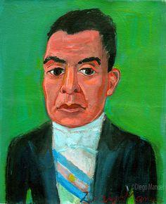 """""""Hipólito Yrigoyen """", acrilico sobre lienzo,26 x 21 cm. , 2001 . Cuadro en…"""