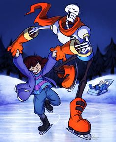 """""YOU'VE NEVER ICE SKATED BEFORE? WORRY NOT, HUMAN! FOR I, THE GREAT PAPYRUS, SHALL TEACH YOU! UNDER MY TUTELAGE YOU WILL BECOME THE MOST SKILLED SKATER THE WORLD HAS EVER SEEN! ….WELL, NOT AS SKILLED AS ME, OF COURSE."" "" A little something I..."