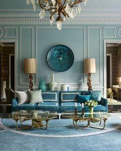 Parisian perfection in blue.   Photo: @SimonUptonPhotos Design: @jeanlouisdeniot by elledecor