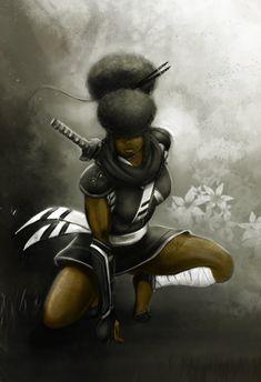 Thats Stanky Productions: Photo Black Girl Cartoon, Black Girl Art, Black Women Art, Art Girl, Black Art, Afro Samurai, Samurai Art, Fantasy Art Women, Fantasy Story