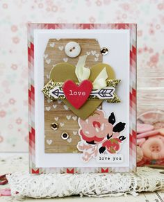 A Beautiful Heart & Arrow Valentine's Day card from Melissa Phillips at Crate Paper