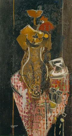 georges braque  The Pink Tablecloth. 1961, oil on canvas, 42 1/2 x 25 1/4 inches.