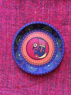 Indian Folk Art Peacock on Terracotta Plate by GlimpsesOfIndia