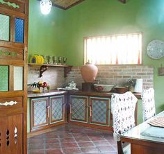 This simple house gives the best provincial life has to offer--with a few surprising Filipiniana touches. Simple Kitchen Design, Interior Design Kitchen, Filipino Interior Design, Filipino House, Tropical House Design, Hut House, Bahay Kubo, Filipino Culture, Architecture Building Design