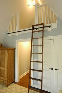 Library latter to a loft...This could work for our planter shelf...