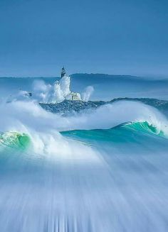 Lighthouse in the ocean waves. Costa de Cantabria, Spain, by Max Decker Beautiful World, Beautiful Places, Simply Beautiful, Cool Pictures, Beautiful Pictures, Beautiful Photos Of Nature, Nature Photos, Lighthouse Pictures, Foto Poster