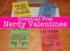 Pin for Later: 50+ Free Valentine's Printable Cards That Aren't Corny Nerdy Valentine's Printables This collection of four nerdy Valentine's Day card printables will satisfy any geek.