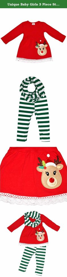 Unique Baby Girls 3 Piece Striped Rudolph Christmas Legging Set (5T) Green. These boutique style Christmas outfits are perfect for your little girl's winter wardrobe. This set features a striped pattern on the leggings with a perfectly matching long sleeve skirt top and scarf. A Rudolph the red nosed reindeer applique and a crochet trim on the top complete the look. Made of a 97% high quality soft cotton and 3% stretchy spandex blend this outfit is soft and comfortable.