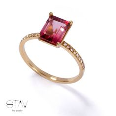 Solitare gold ring, gemstone and diamonds ring ,14 karat yellow gold and Tourmaline, Engagement ring, love ring.