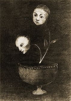 Odilon Redon - Little Flowers (Human Heads), 1880