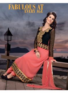 Evelyn Black & Pink Coloured Georgette  Embroidered Dress Material