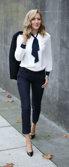 Navy tuxedo pants and jacket + tie neck blouse | Skirt the Ceiling | skirttheceiling.com
