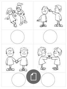 Emotionen - Arbeitsmaterial - Elegir Accion Buena - Mala Preschool Friendship, Friendship Activities, Feelings Activities, Preschool Activities, Emotions Preschool, Visual Learning, Autism Learning, Islam For Kids, Classroom Rules