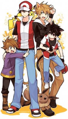 Not sure why older Blue and younger Red are nekos, but this is cute. :)