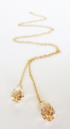 Golden Shadow Swarovski Crystal Gold Filled lariat Necklace