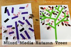 Mixed Media Autumn Trees - A Fall Leaf Art Project for Kids