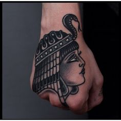 Traditional hand tattoo #Egyptian #Cleopatra #pharaoh #traditional #tattoo