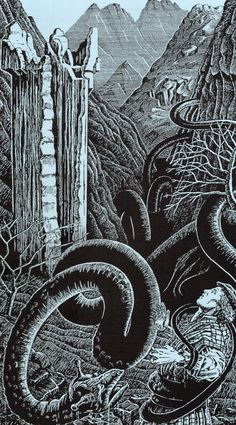 Beithir- Scottish myth: a large snake creature that appears during lightning storms in summer. They are the result of a snake that was decapitated but was then left that way. The head and body reunited and it became a beithir.