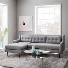 Crosby Mid-Century 2-Piece Chaise Sectional