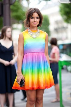 It's color wonderful for Miroslava Duma, who also wears her go-to statement necklace.  Read more: Couture 2012 Street Style - Couture 2012 Street Style Photographs - Harper's BAZAAR