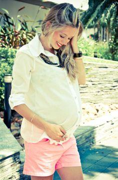 suh riediger gravida blog vittamina look do dia gravida look do dia gestante moda para gravida pregnant look short neon camisa transparente ...