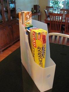How do you store saran wrap, ziploc bags, and aluminum foil
