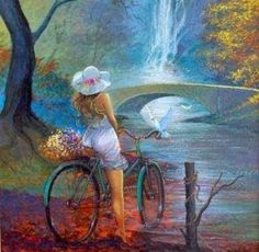Admiring Nature - bicycle, admiring, bridge, waterfalls, dove, girl, nature, flowers, paintings