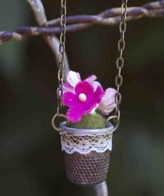 How to Make a Thimble Flower Necklace by cutoutandkeep.net   #Necklace #Thimble_Necklace #cutoutandkeep
