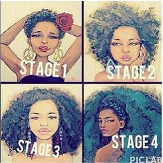 imjessnatural:  loveaq:  #naturalhair is beautiful and patience is key #blackgirlsrock #browngirlsrock  Stage 1…. I guess.  I'm ready to cut my hair back to stage one :)