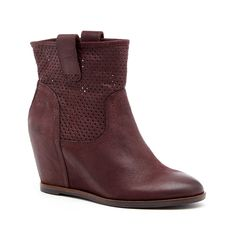 Women's Wine Leather 3 Inch Hidden Wedge Bootie | Keyla by Sole Society