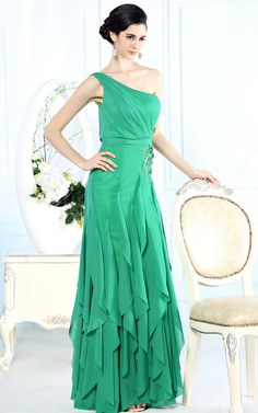Grecian Chiffon Green One Shoulder Evening Dress with Ruffles DQ831112