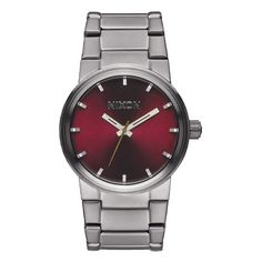Nixon Cannon Watch - Men's Gunmetal/Deep Burgundy, One Size. Housing Material: stainless steel. Strap Material: stainless steel. Water-Resistant: yes, 100m. Face Size: 39.5 mm. Recommended Use: casual.