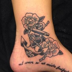 Old School Anchor Tattoo Design on Ankle | Cool Tattoo Designs