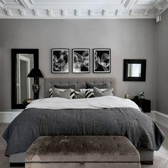 Black And Grey Bedroom, Black Bedroom Decor, Room Ideas Bedroom, Small Room Bedroom, Home Decor Bedroom, Modern Bedroom, Small Rooms, Men's Bedroom Design, Ikea Bedroom