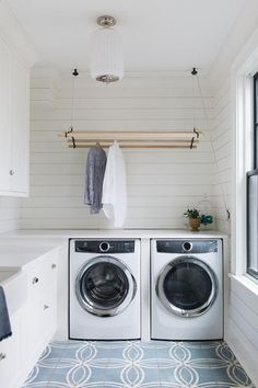 Since it's a job that literally is never complete. My advice is to at least love the space it all happens in. I think this laundry room in our Inverway project fits the bill. Hanging Drying Rack, Wall Mounted Drying Rack, Drying Rack Laundry, Hanging Rail, Drying Racks, Laundry Nook, Laundry Room Storage, Laundry Hacks, Laundry Basket