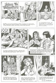 Material produced by Wallace Wood for his regrettably unsuccessful 1970 pitch for Prince Valiant upon the retirement of Hal Foster. (As printed in the Bhob Stewart-edited Against The Grain: Mad Artist Wallace Wood, from Aubrey Beardsley, The Fosters, Prince, Wood, Retirement, Artist, Sketch, Gray, Authors