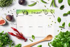 Prosty planner obiadów do druku — wzór menu do pobrania za darmo z bloga, darmowy planner do druku, grafika do wydruku do kuchni