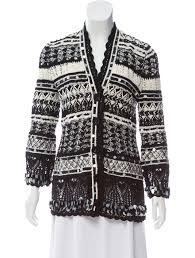 Black and white Oscar de la Renta oversize cardigan featuring colorblock patterning throughout, sequin trim and exposed button closures at center front. Size not listed, estimated from measurements. Oversized Cardigan, Knit Jacket, Color Blocking, Button Up, Collars, Knitwear, Men Sweater, Sequins, Knitting